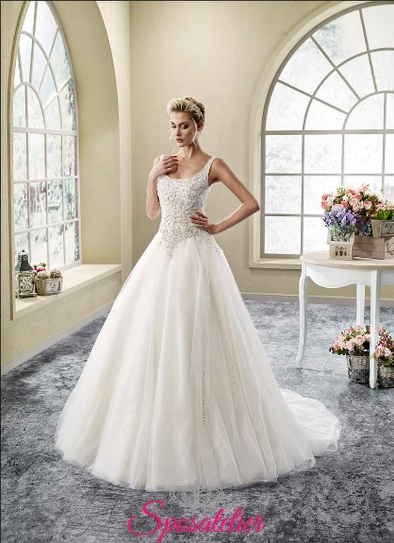 abbastanza vestito da sposa online economico in pizzo ampio in tulle e  VO67