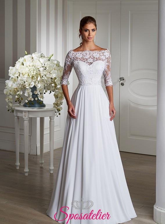 Favorito abito da sposa semplice lineare con ricami maniche 3/4Sposatelier RR22