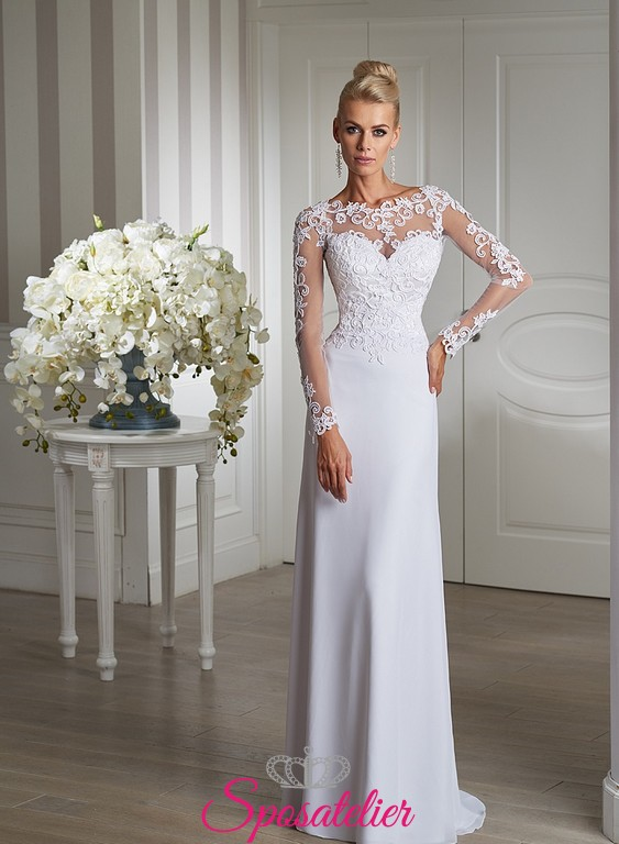 Estremamente abito da sposa con maniche lunghe in pizzo elegante Italia  JM21
