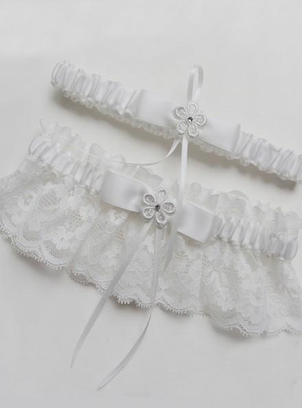 Giarrettiera sposa  2 pezzi bianca elegante con pizzo