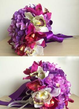 bouquet sposa con fiori rosa viola lilla e bianchi