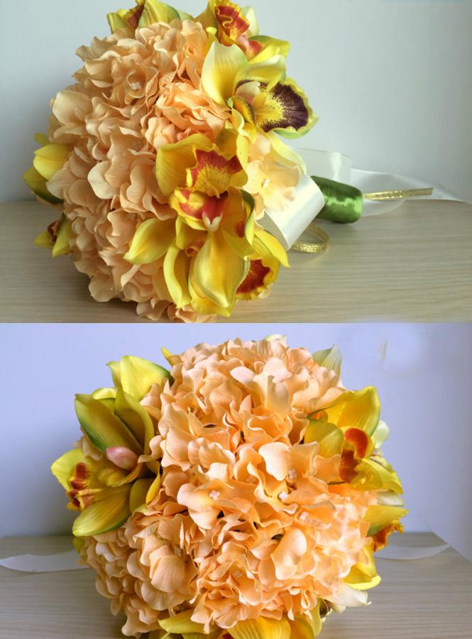 Bouquet Sposa Arancio.Bouquet Sposa Con Fiori Color Pesca Arancio E Orchideesposatelier
