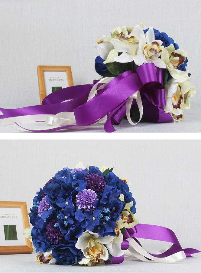 Matrimonio Tema Blu : Bouquet da sposa originale per matrimonio a tema viola e