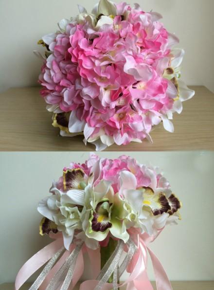 Bouquet Ortensie E Orchidee : Bouquet sposa ortensie rosa e orchidee bianche online
