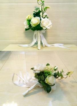 Bouquet Sposa elegante con fiori bianchi artificiali online