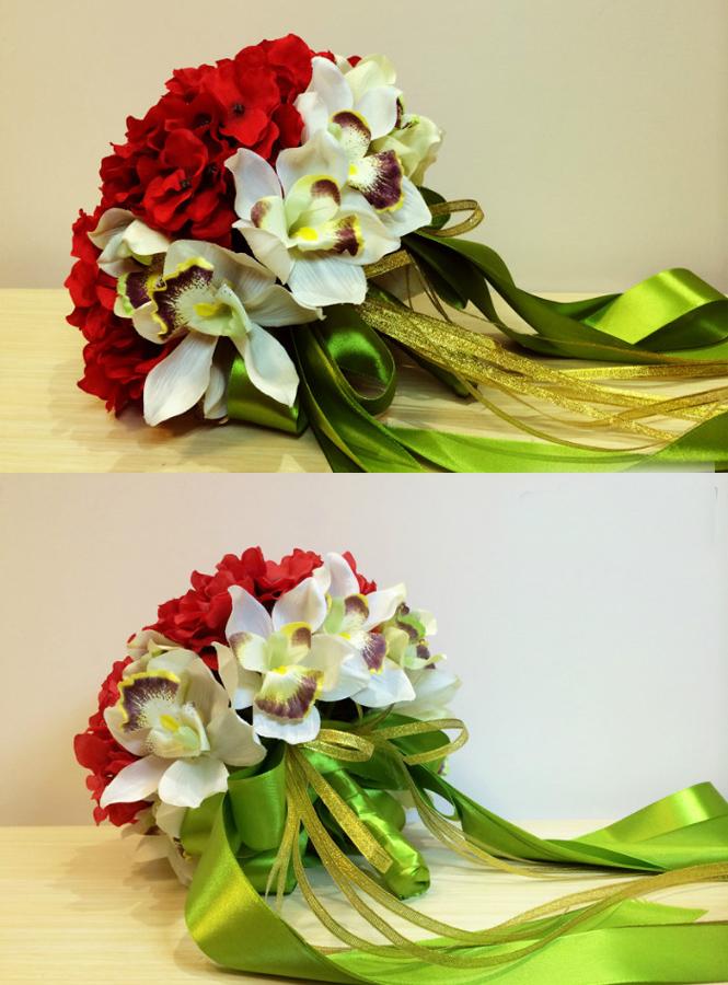 Bouquet Ortensie E Orchidee : Bouquet sposa con orchidee bianche e ortensie rosse fiori