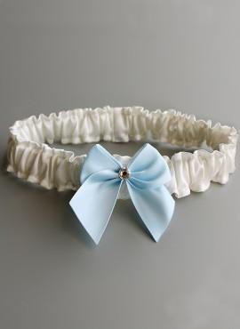 Giarrettiera sposa prezzi bassi avorio con fiocco azzurro  online