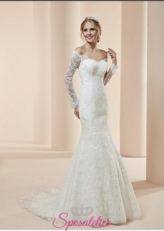 Célèbre flessia- abiti da sposa a sirena con maniche lunghe e schiena  HF43