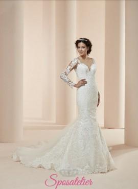 e8928aa77177 patrika- vestito da sposa economico online sirena con maniche lunghe e schiena  scoperta