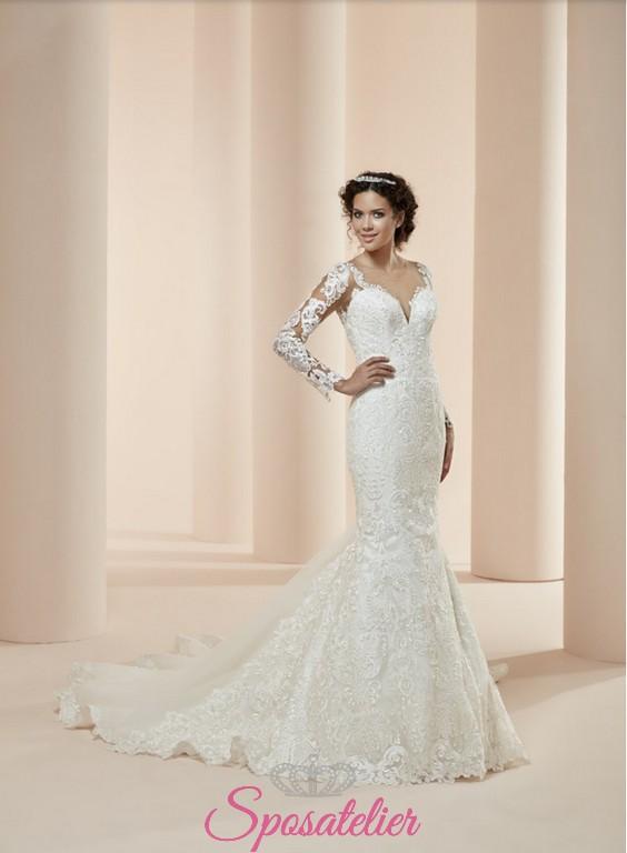 patrika, vestito da sposa economico online sirena con maniche lunghe e schiena  scoperta