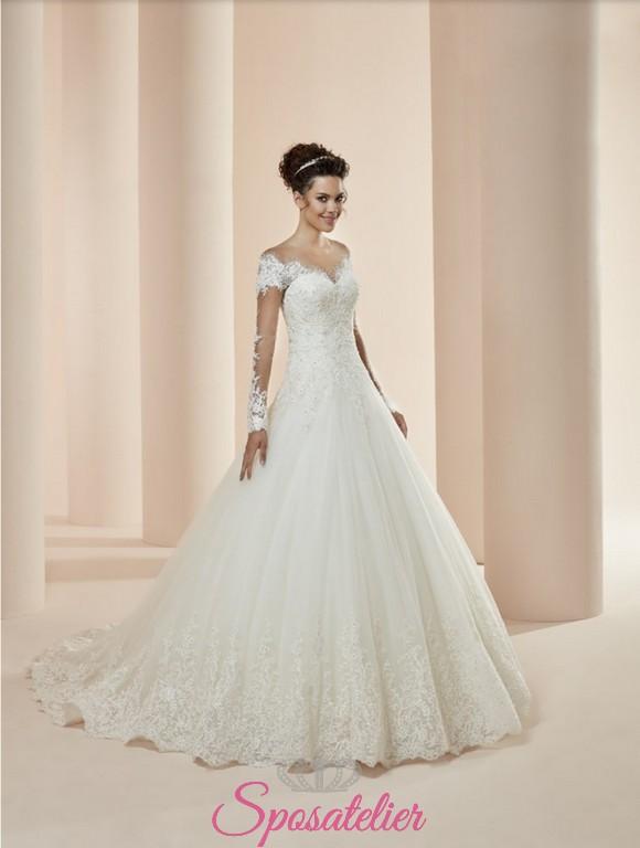 c8f19bde12b8 alisha- vestito da sposa economico online ampio con maniche lunghe