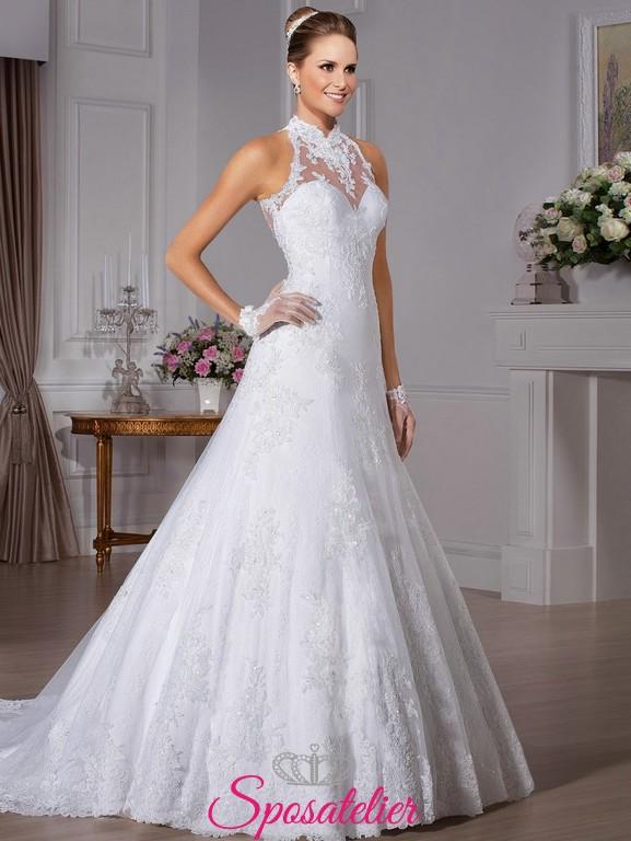 838f04cbcb6b middies- abiti da sposa con scollatura a lupetto ricamato in pizzo
