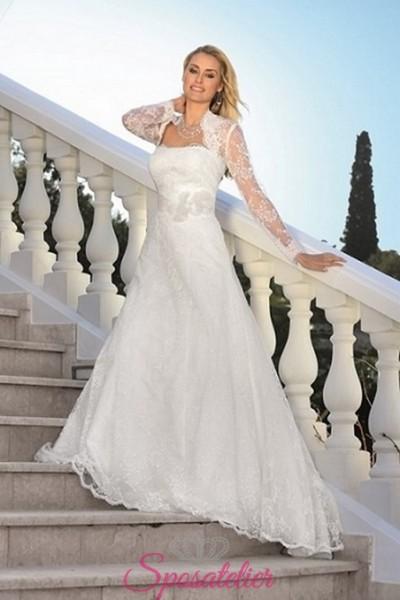yullia-vestito da sposa economico online con coprispalle completo