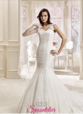 illisia-abito da sposa online economico modello sirena ricamato in pizzo realizzato su misura