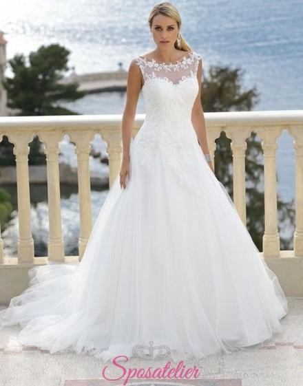 giglia- vestito da sposa economico online  con scollo dritto trasparente