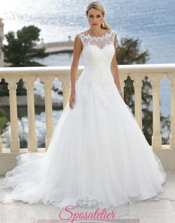 cc51bf05f2bf giglia- vestito da sposa economico online con scollo dritto trasparente