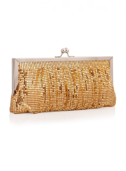 Borsa Pochette con pailette color oro clutch online economica