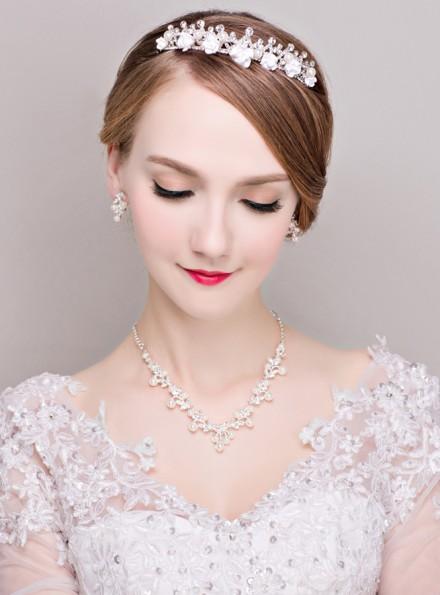 coroncina sposa con strass online Completo con Orecchini e Collana