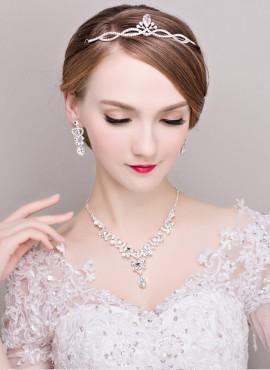 tiara sposa con strass online Completo con Orecchini e Collana