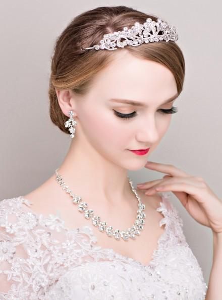 gioielli sposa online economici corona con strass Orecchini e Collana