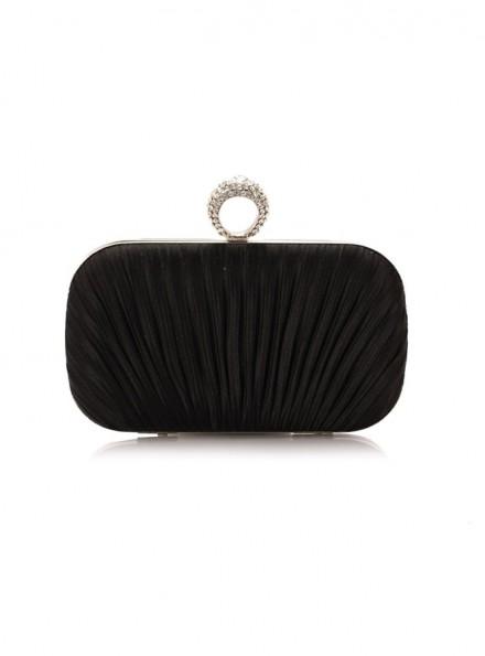 Pochette sposa elegante nera con anello online economica