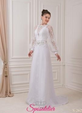 660d85b9be2f fiumicino- abiti da sposa con maniche a pipistrello con pizzo Italia online  economico