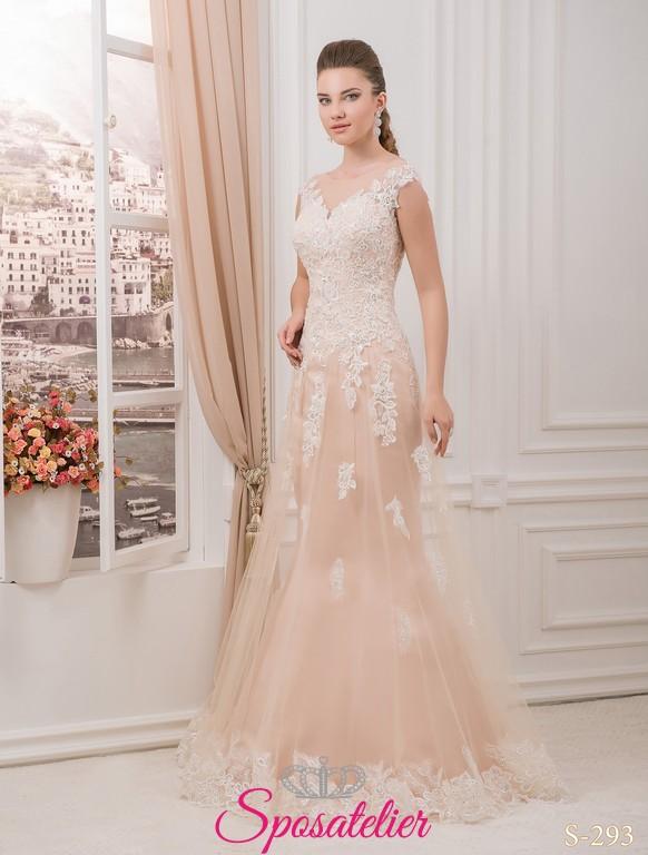 best website e7e1f 061d5 daidya- abiti da sposa color cipria con pizzo Italia online economico