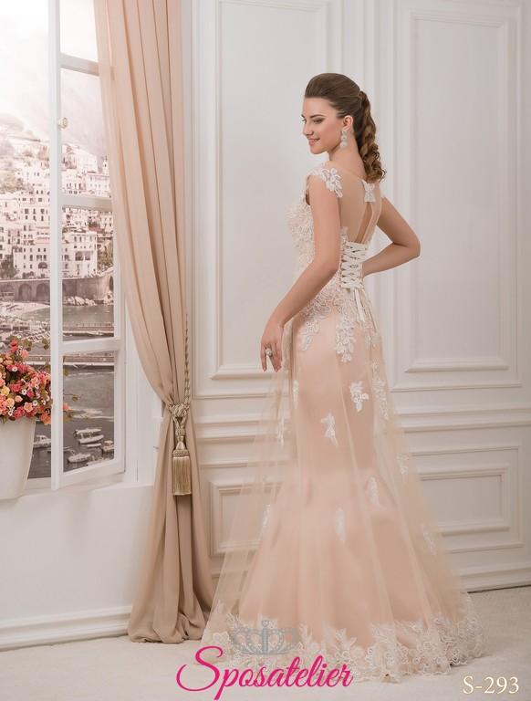 2b0fcc69a725 daidya- abiti da sposa color cipria con pizzo Italia online economico.  Vendita!