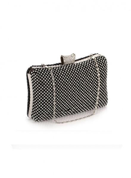 Clutch elegante Nera con perline e strass argento