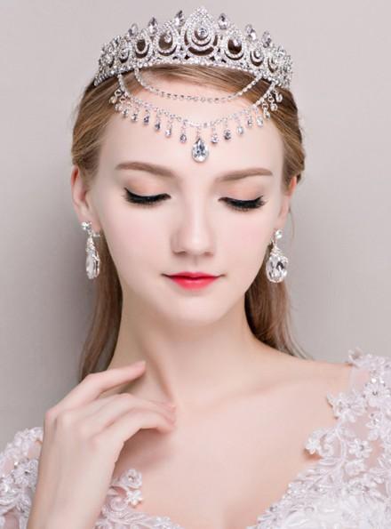 Diadema per Sposa con pendenti di strass e Orecchini