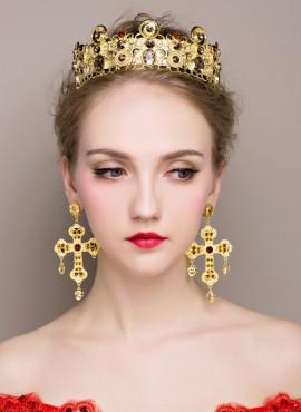 Corona con Orecchini a croce color oro