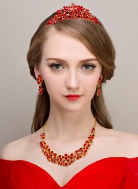 Tiara cerimonia nuziale collana e Orecchini con perline e strass rossi