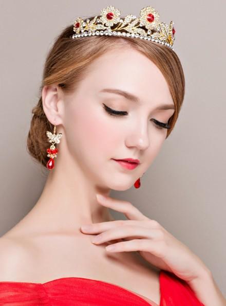 Tiara ed Orecchini per Sposa color oro e rosso