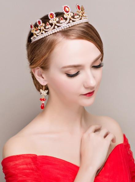 Completo per Sposa di Tiara e Orecchini rosso e oro