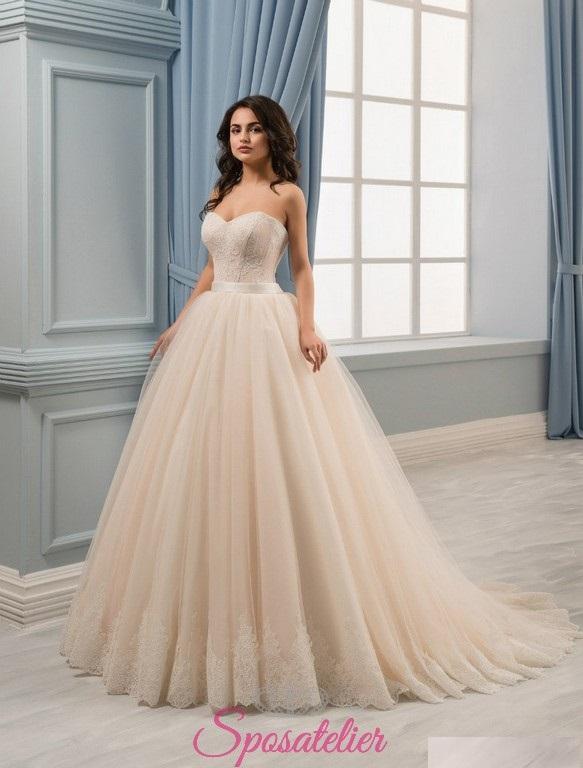 757250783783 abiti da sposa ampio principesco color crema 2017 online economico