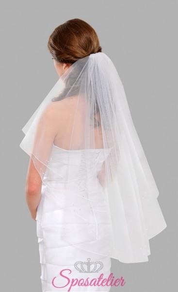 Velo da sposa decorato a mano con cristalli e perle