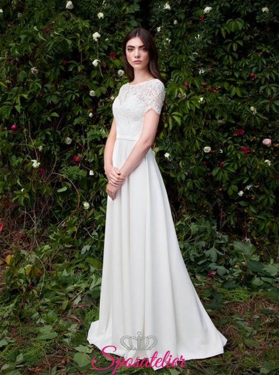 Super Modica- abiti da sposa semplici con maniche corte acquisto  ZC37