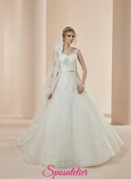 Brescia-vestito da sposa economico online elegante modello principesco