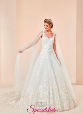 Torino-vestito da sposa economico online elegante modello principesco