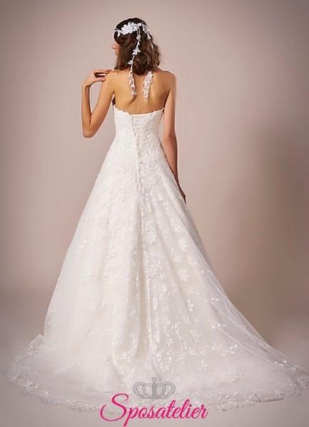 Monreale-abito da sposa economico vendita online in pizzo ricamato