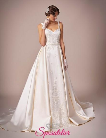 135-abito da sposa in raso ricamato con pizzo elegante e raffinato