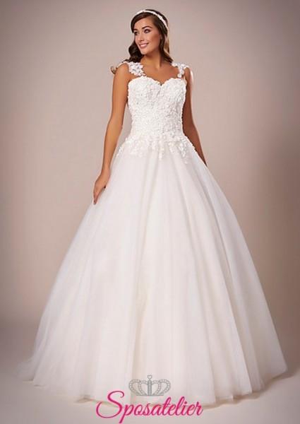 Molise-abito da sposa palloncino economico con ricamo sulla schiena