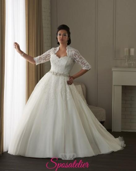 Torino- abiti da sposa 2017  con coprispalle taglie forti