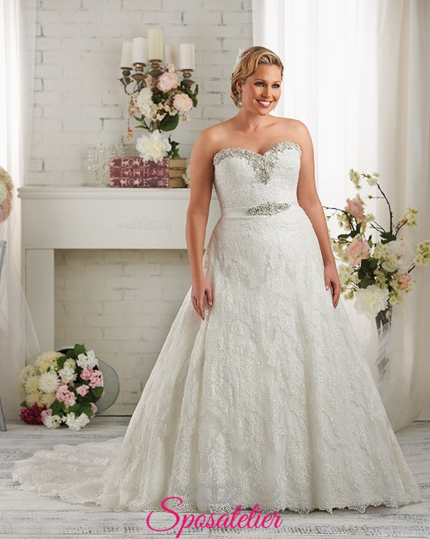 ee45b46d72b7 Sicilia- abiti da sposa 2017 con strass taglie comode