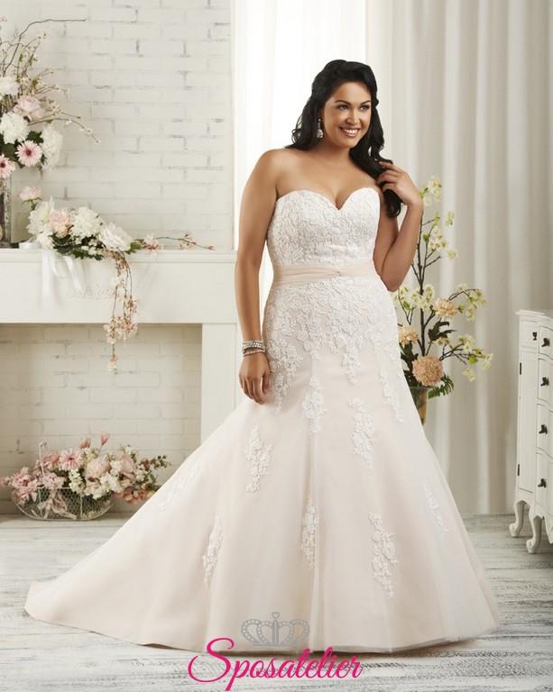 c16026c6017a Trani- abiti da sposa 2017 taglie comode colorati con scollo a cuore