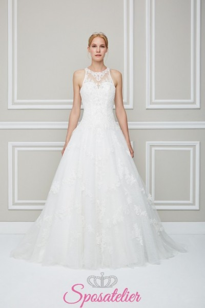 Padova-vestito da sposa acquisto online economico con girocollo