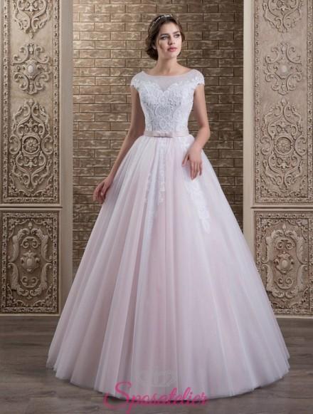 131-abito da sposa economico colorato con gonna a campana