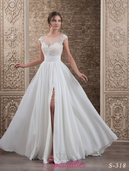 137-abito da sposa economico elegante e raffinato con spacco