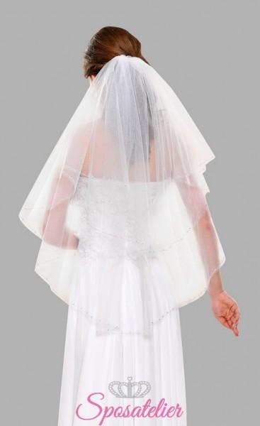 Velo da sposa corto con fili d'argento online