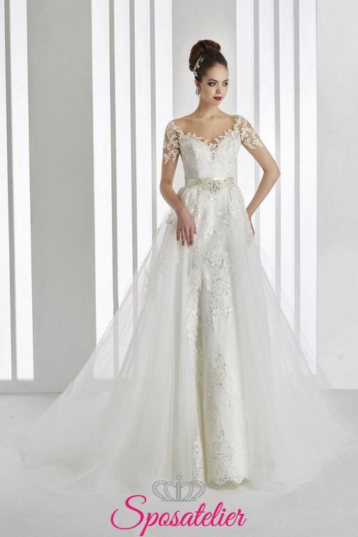 e321e3150553 vestito da sposa 2 in 1 ampio e principesco con gonna staccabile ricamato  ...